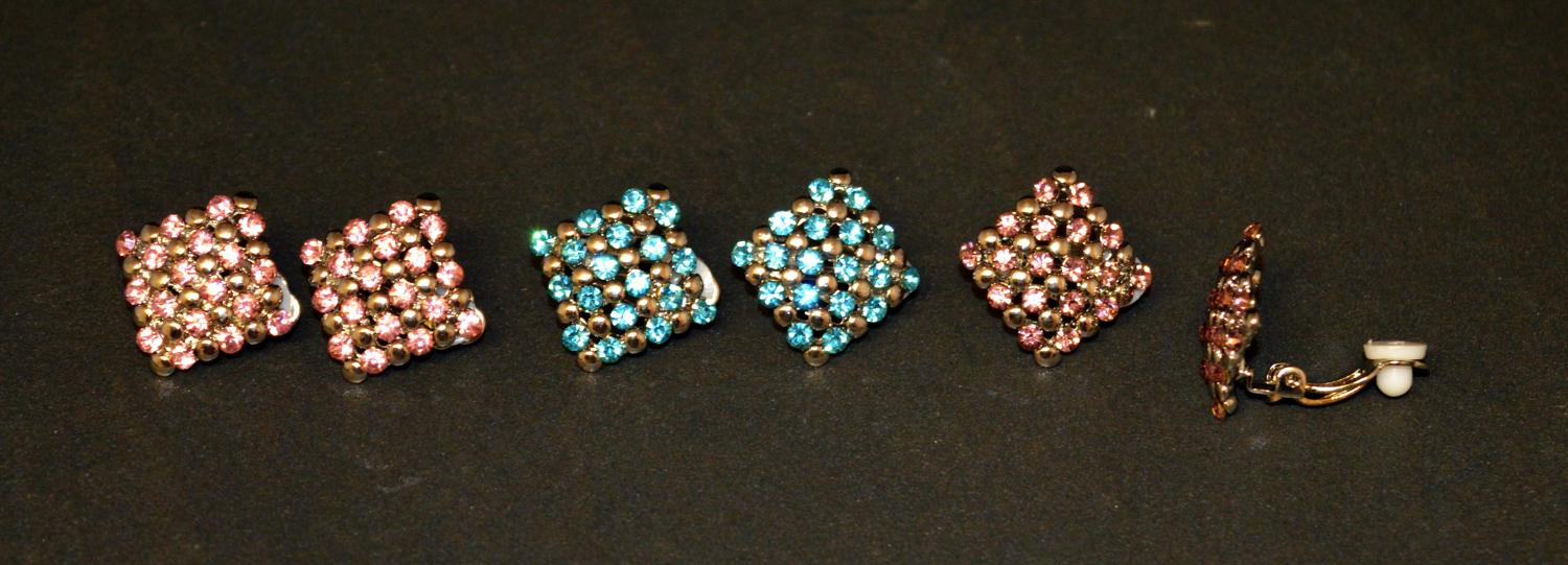 Square Clip Earring with Coloured Stones