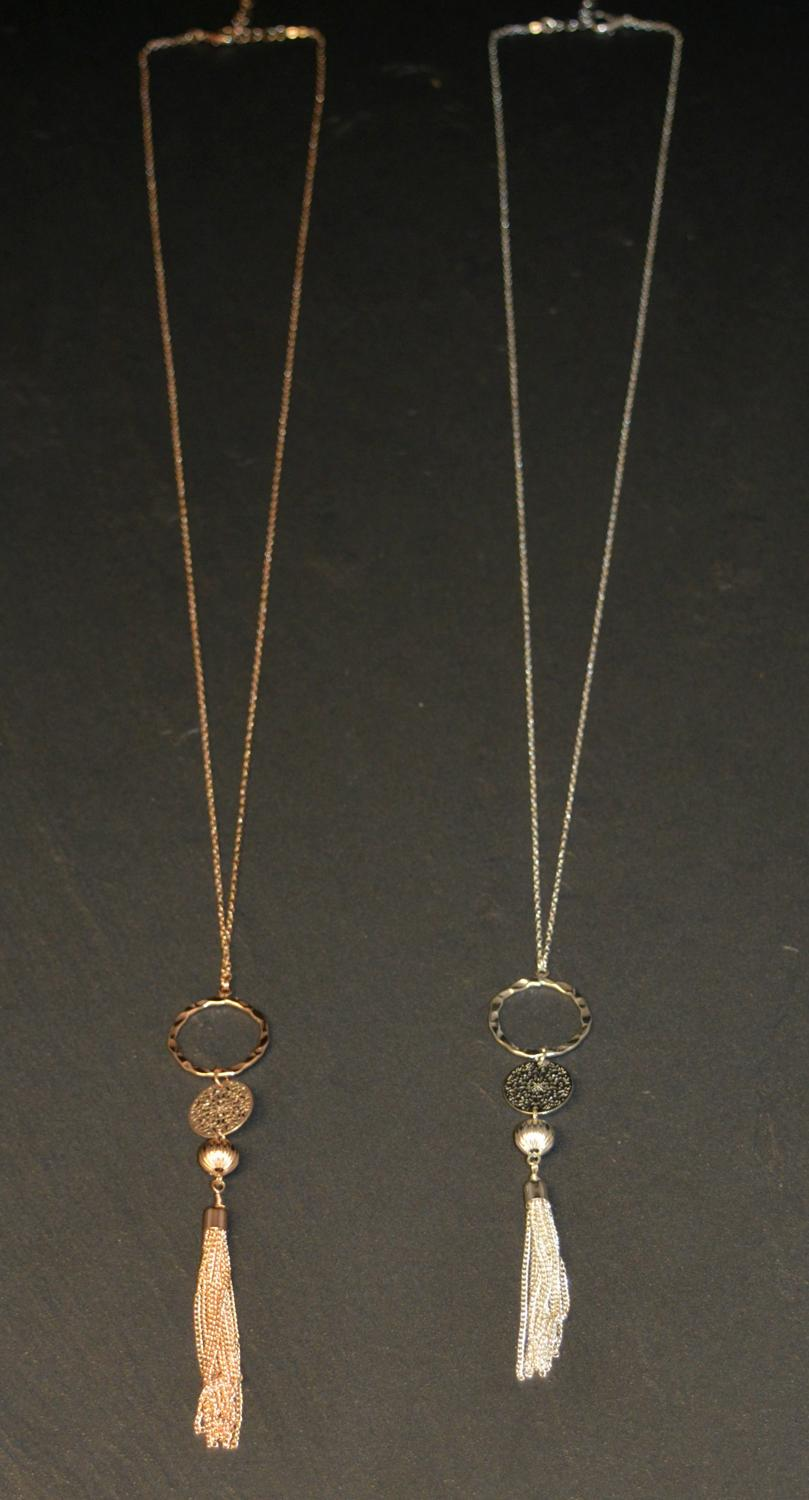 Long Tassel and Circle Drop Necklace