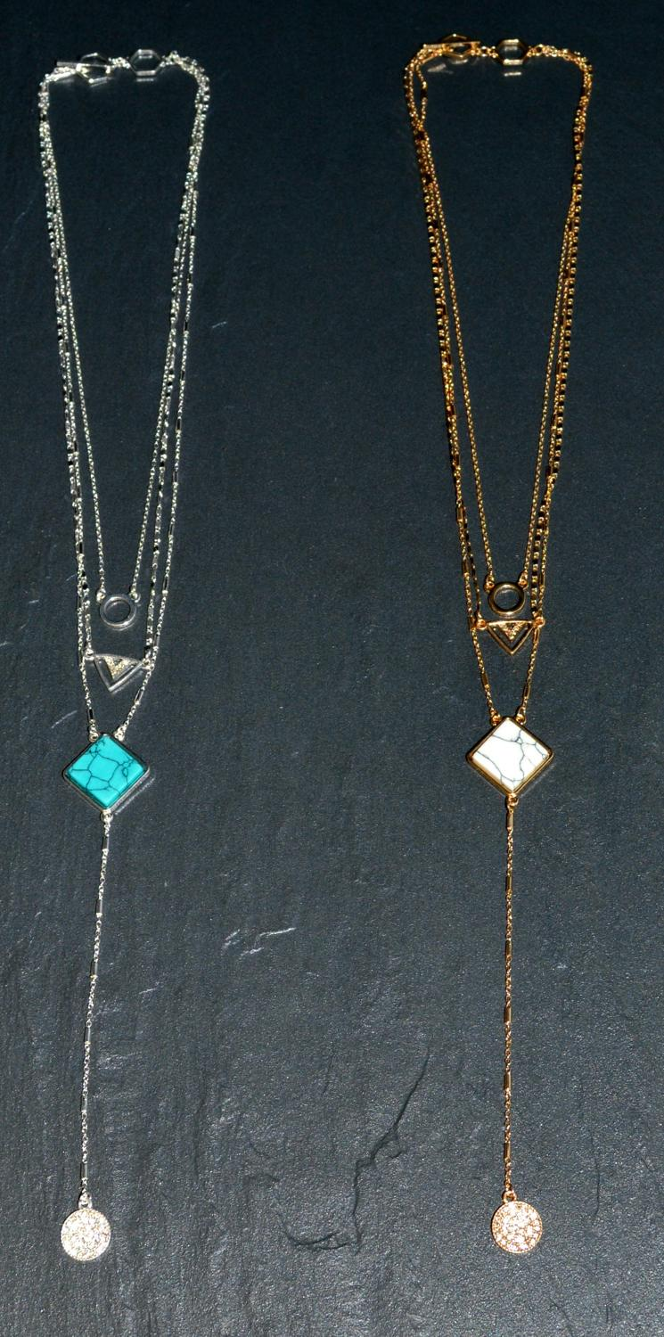 Long Geometric Layered Necklace
