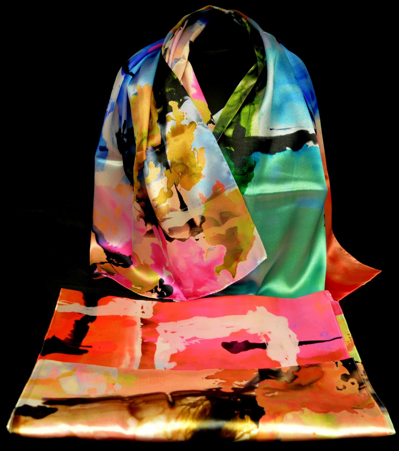 Brightly Coloured Satin Feel Italian Scarf