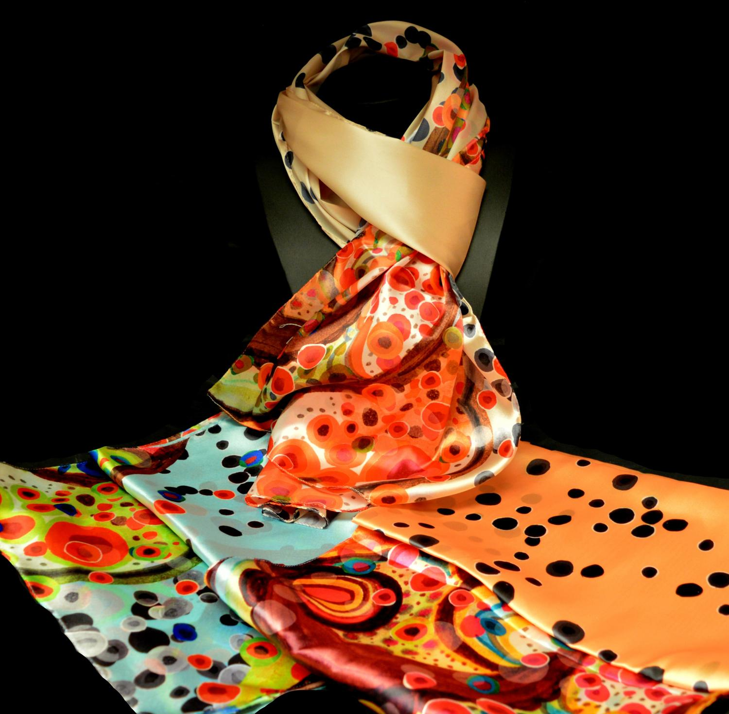 Satin Feel Italian Scarf with Bright Bubble Style Print