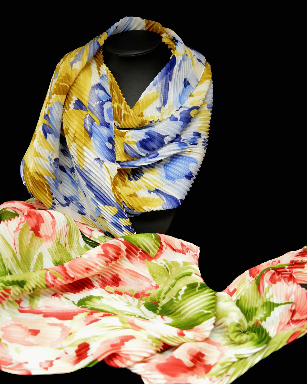 Bright Bold Floral Italian Crinkle Scarf