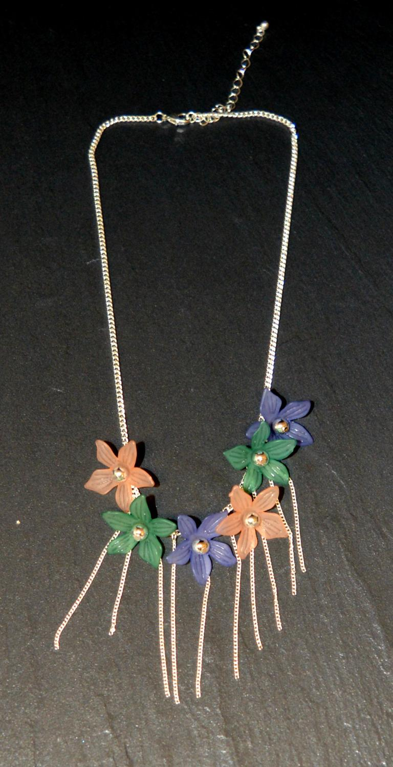 Pastel Coloured Flower Necklace with Tassel Detail