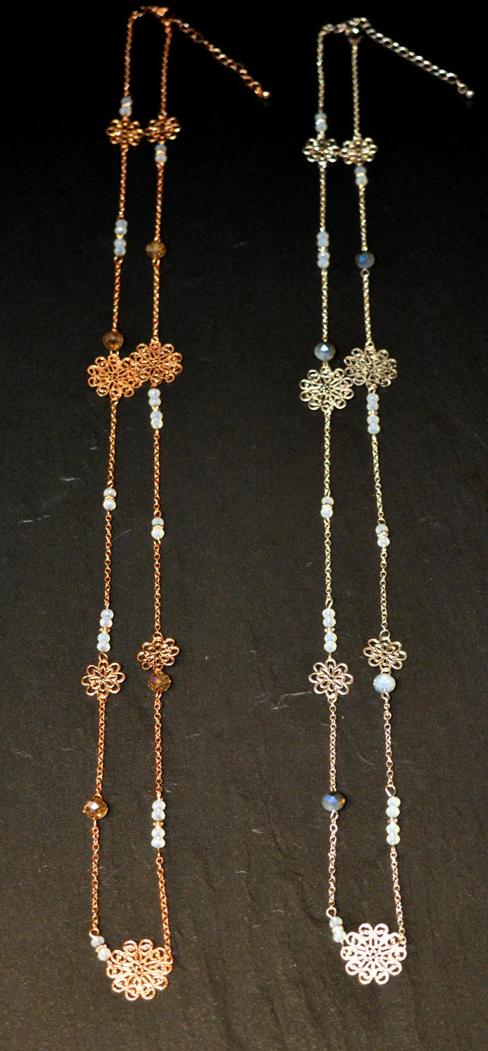 Long Facet Bead and Flower Necklace