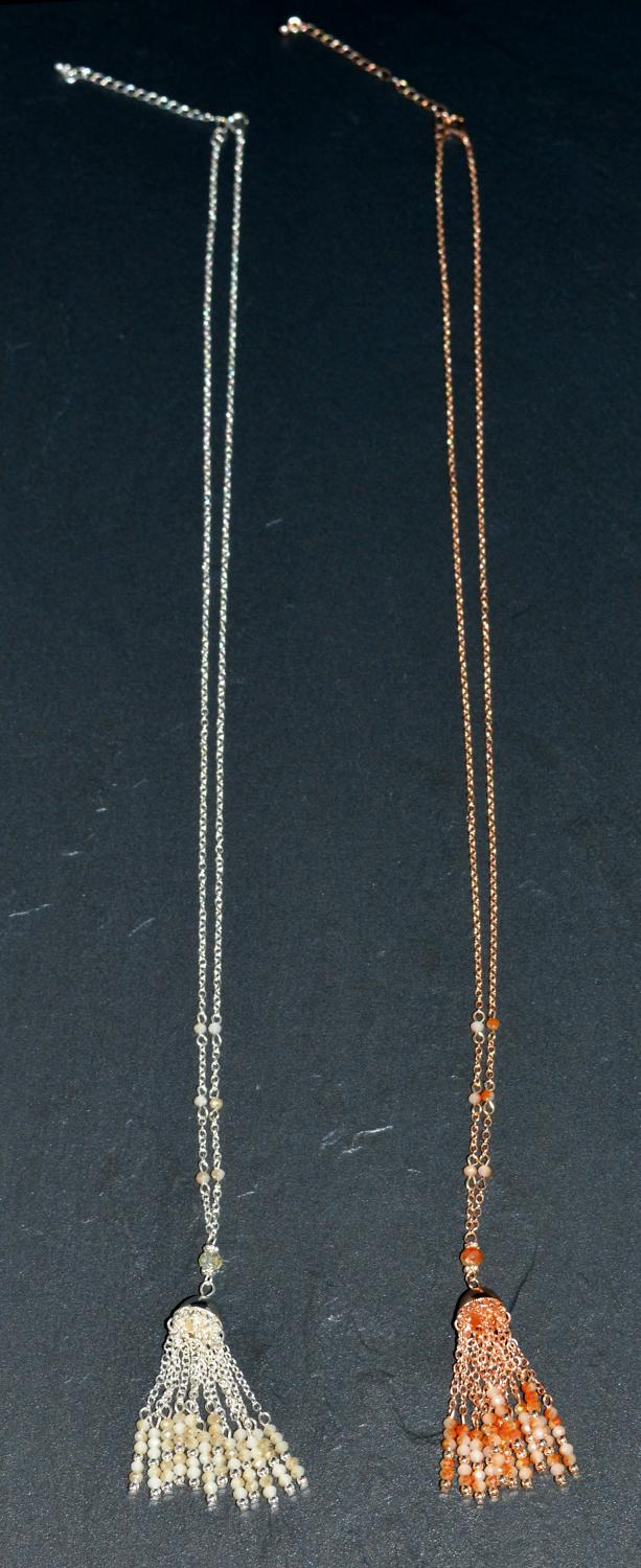 Long Tassel and Facet Bead Necklace