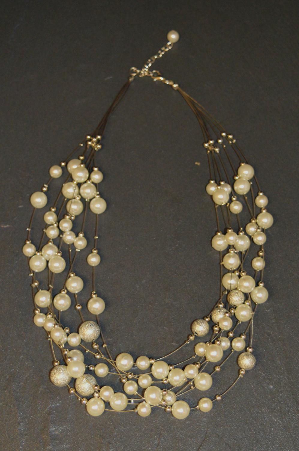 Multi Row Pearl and Glitter Effect Necklace