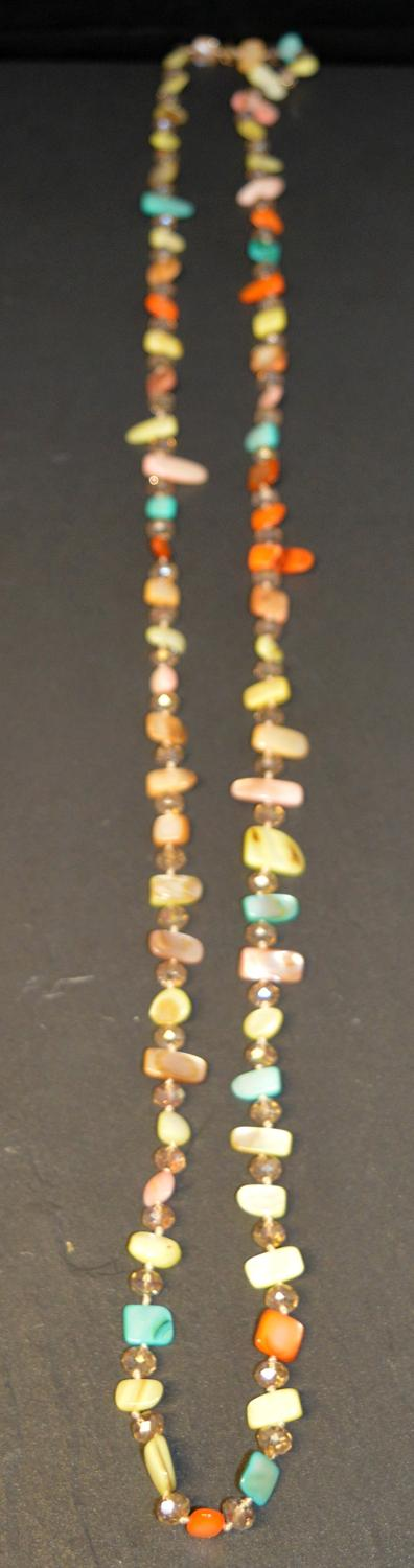 Multi Coloured Stone Chip Long Necklace