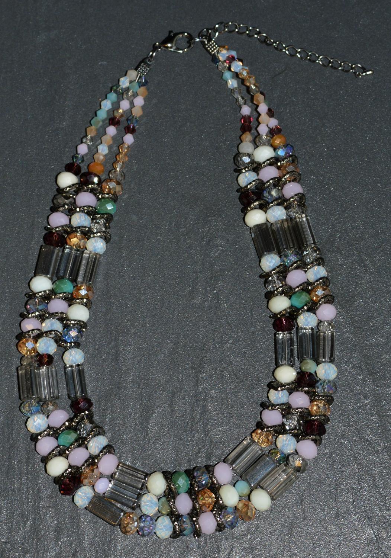 Triple Row Facet Bead Necklace