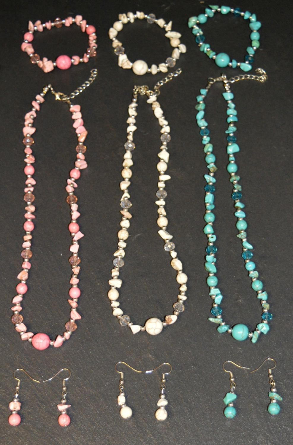 Natural Stone Necklace, Bracelet and Earring Set