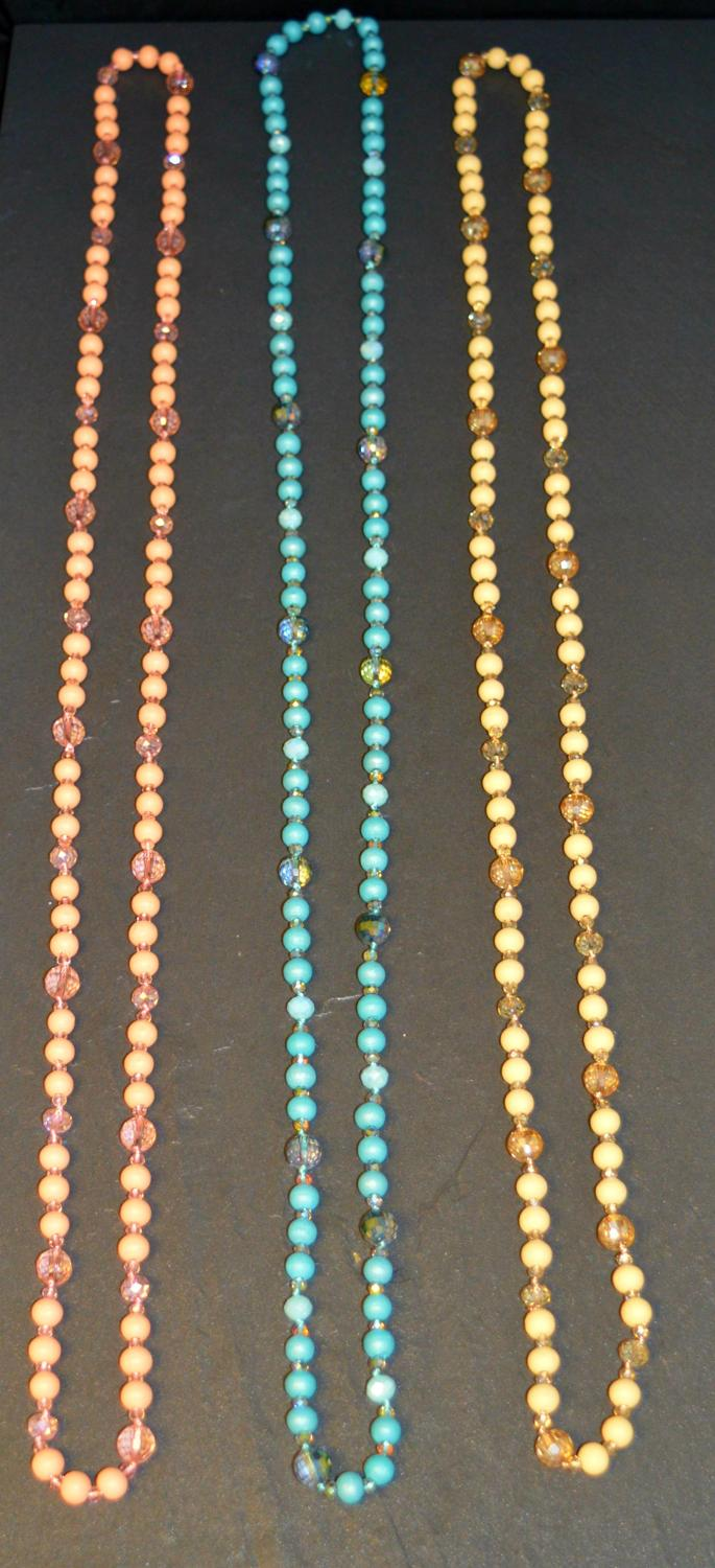 Matt Coloured Beaded Long Necklace