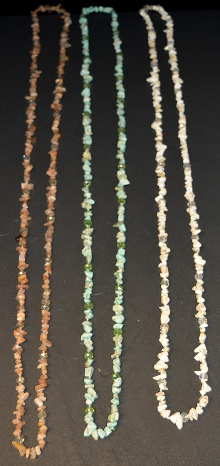 Long Stone Chip Necklace