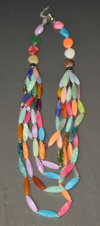 Multi Coloured Multi Row Beaded Necklace