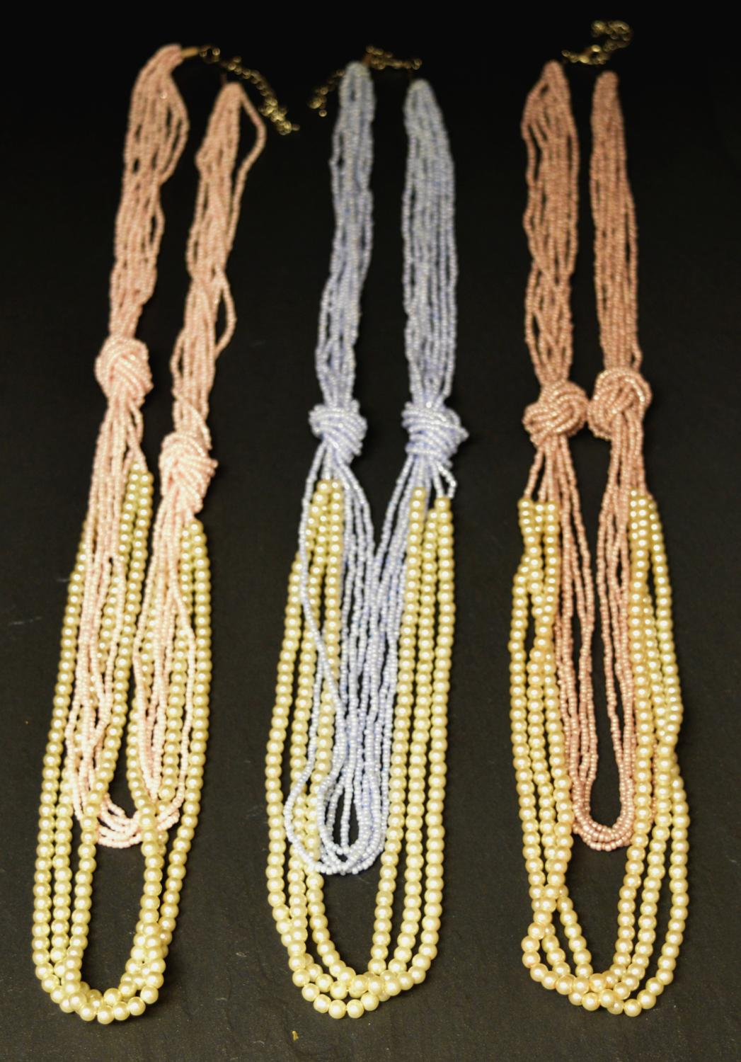 Multi Row Pearl and Seed Bead Long Necklace