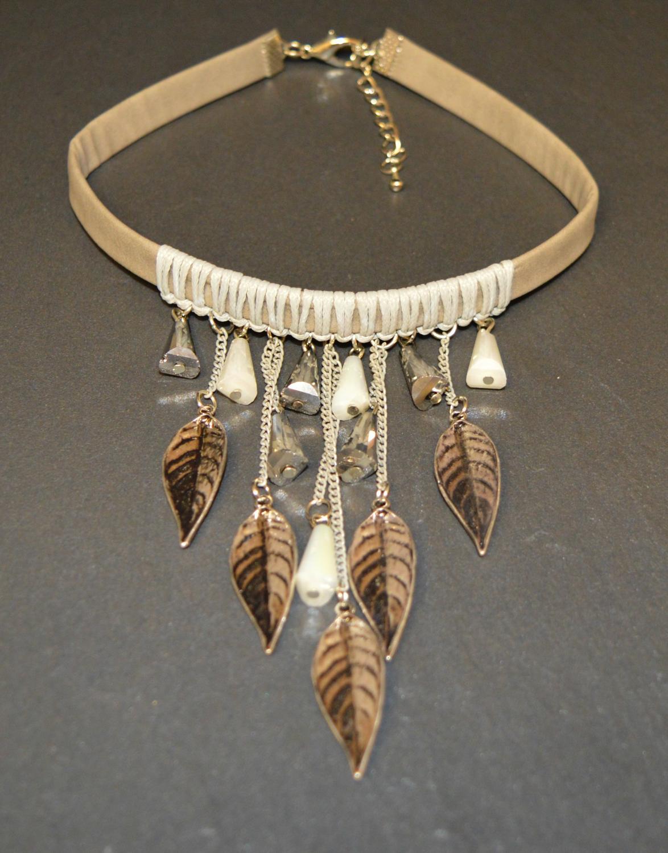 Suede Effect Choker with Leaf Design Tassels