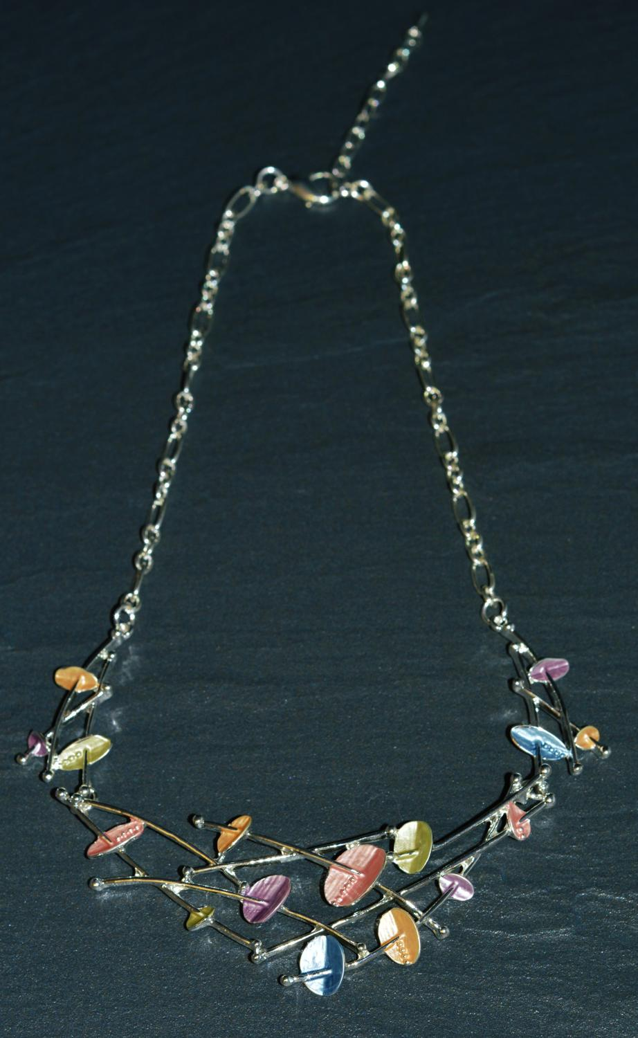 Pastel Enamel Flower Necklace
