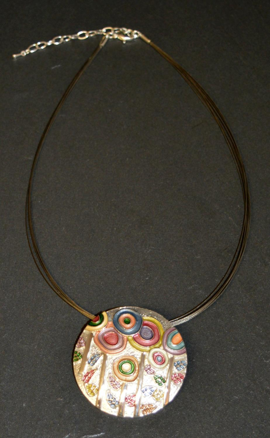 Multi Wire Necklace with Floral Enamel Disc