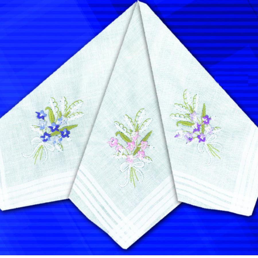 Ladies Coloured Embroidered Handkerchief