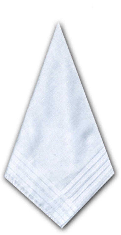 Ladies White Cotton Handkerchiefs with a Satin Striped Border
