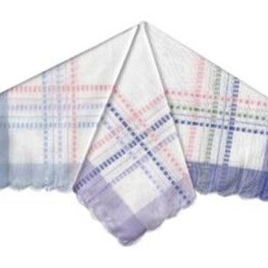 Ladies Dobby Satin Border Handkerchiefs