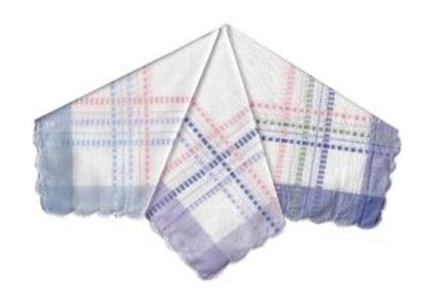 Ladies Dobby Satin Border Handkerchiefs