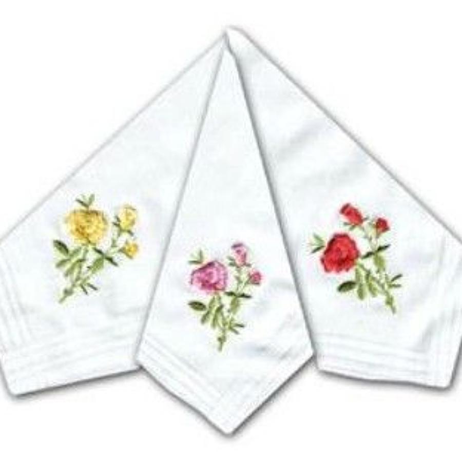 Ladies Rose Embroidered Cotton Handkerchiefs