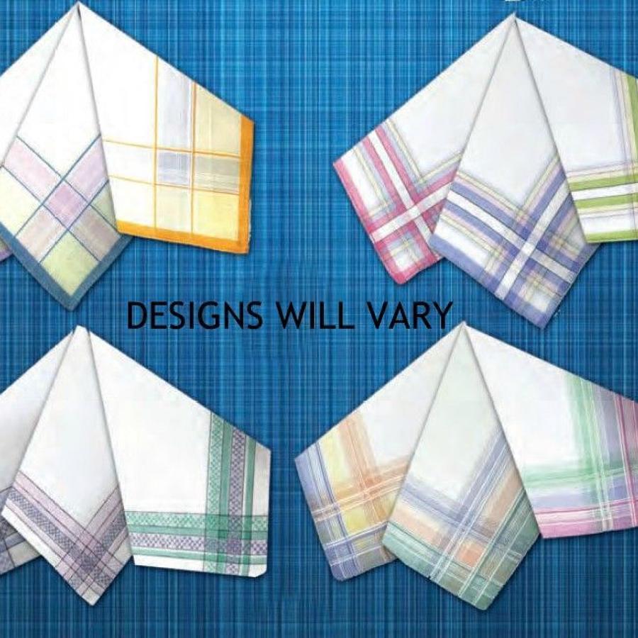 Ladies Colour Woven Border Handkerchiefs