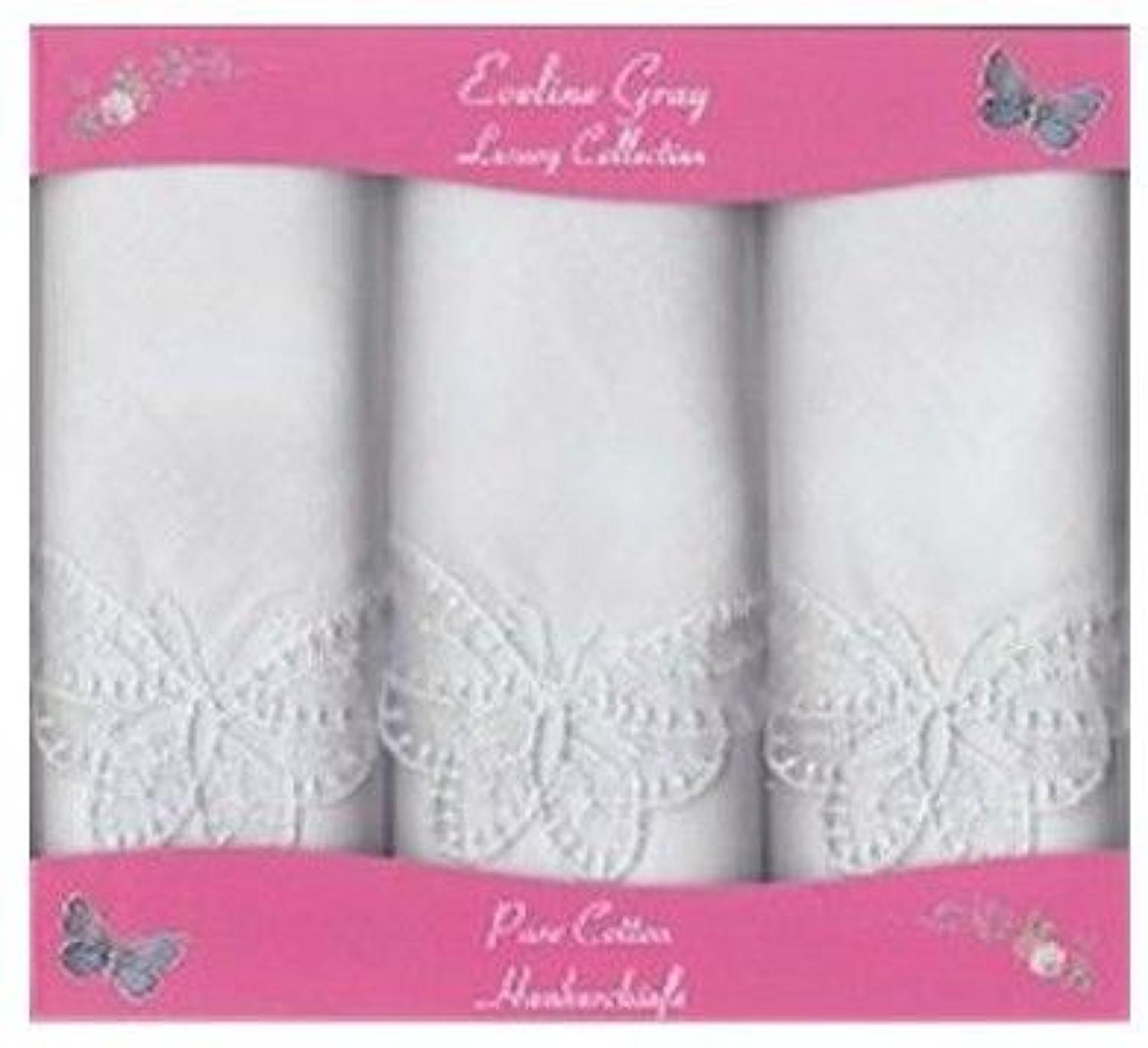 3 Pack Ladies White Butterfly Lace Corner Handkerchiefs