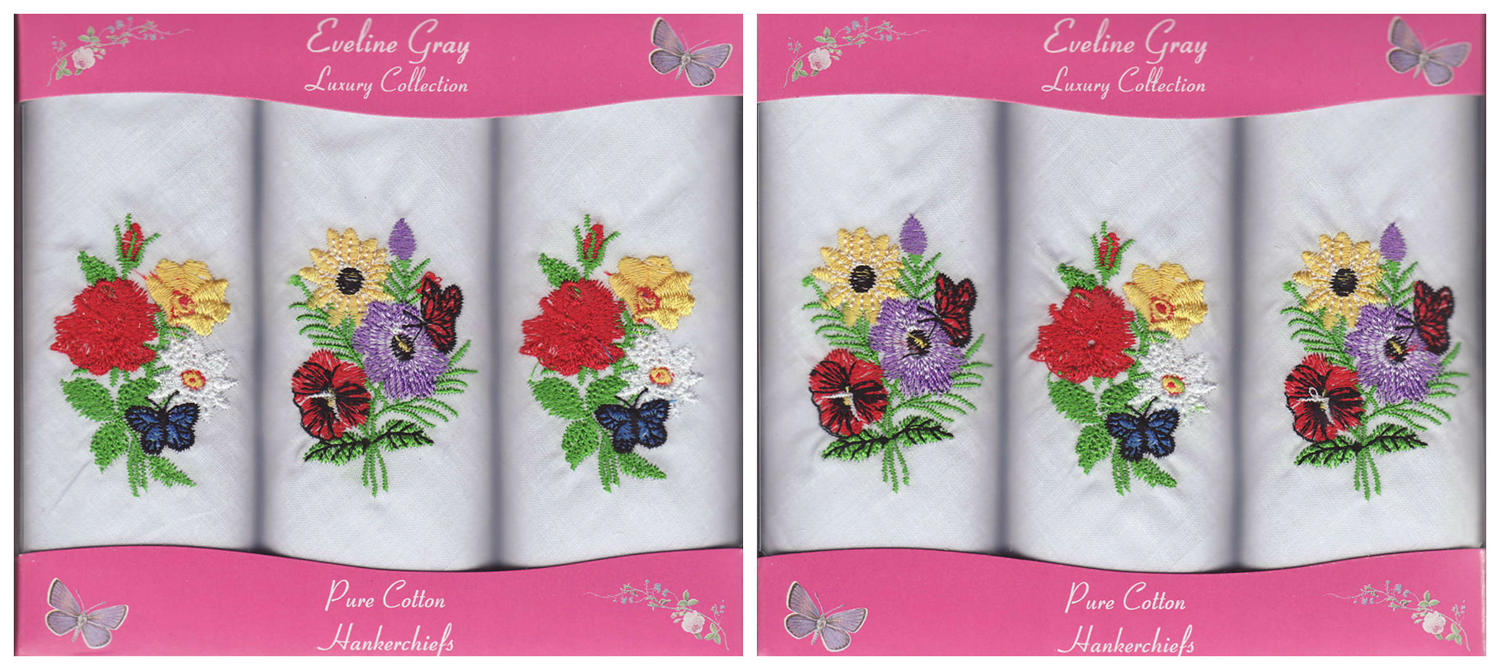 3 Pack Ladies Floral Embroidered Handkerchiefs