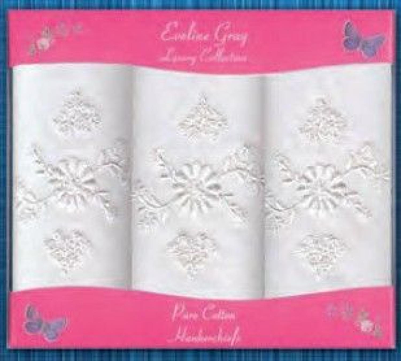 3 Pack Ladies White Embroidered Handkerchiefs