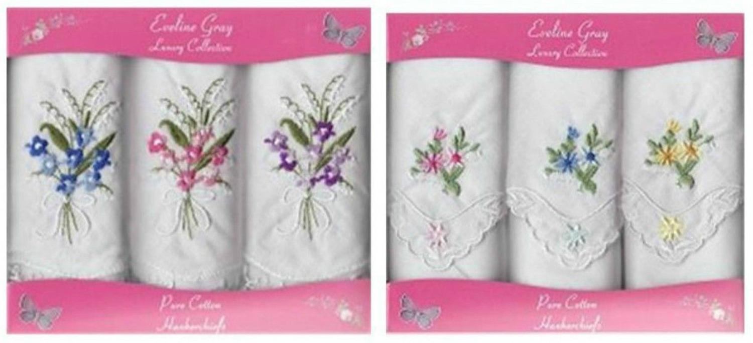 3 Pack Ladies Floral Embroidered Lace Corner Handkerchiefs