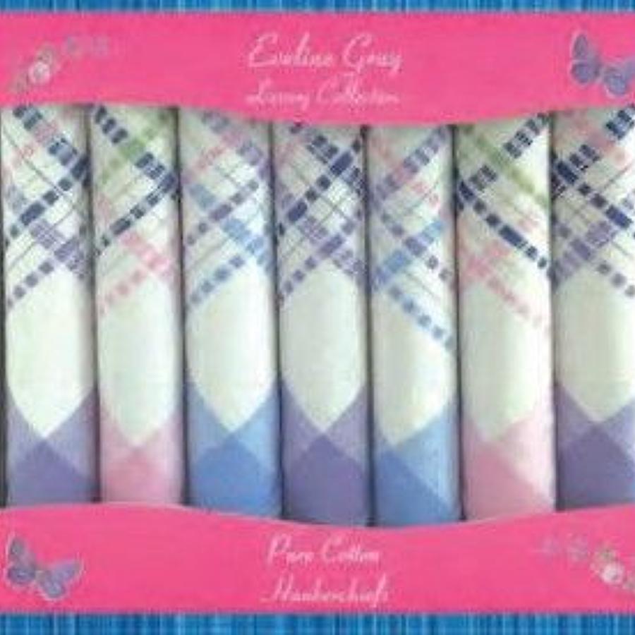 7 Pack Ladies Colour Woven Border Handkerchiefs