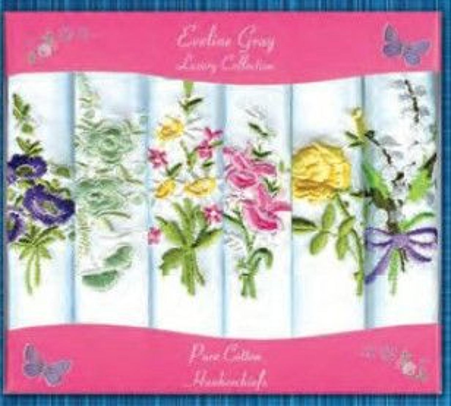 6 Pack Ladies Coloured Embroidery Handkerchiefs
