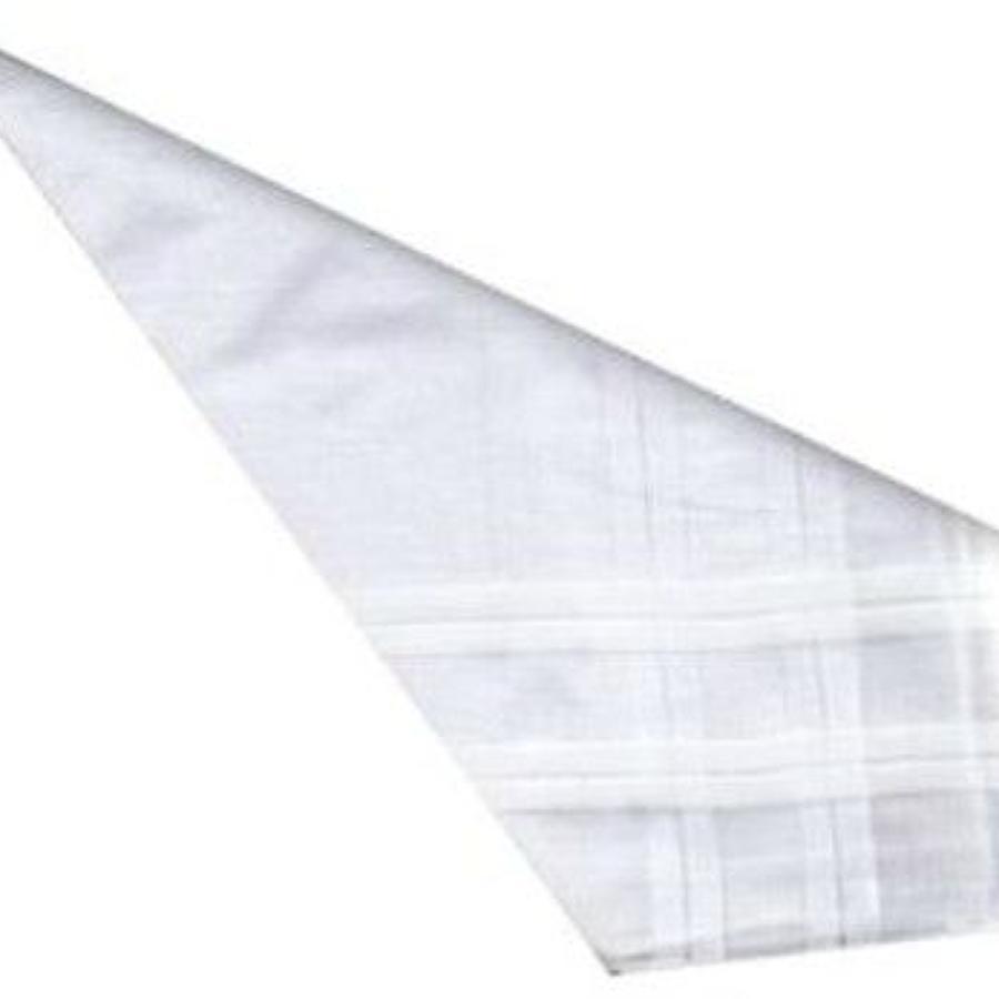 Mens White Satin Striped Cotton Handkerchiefs