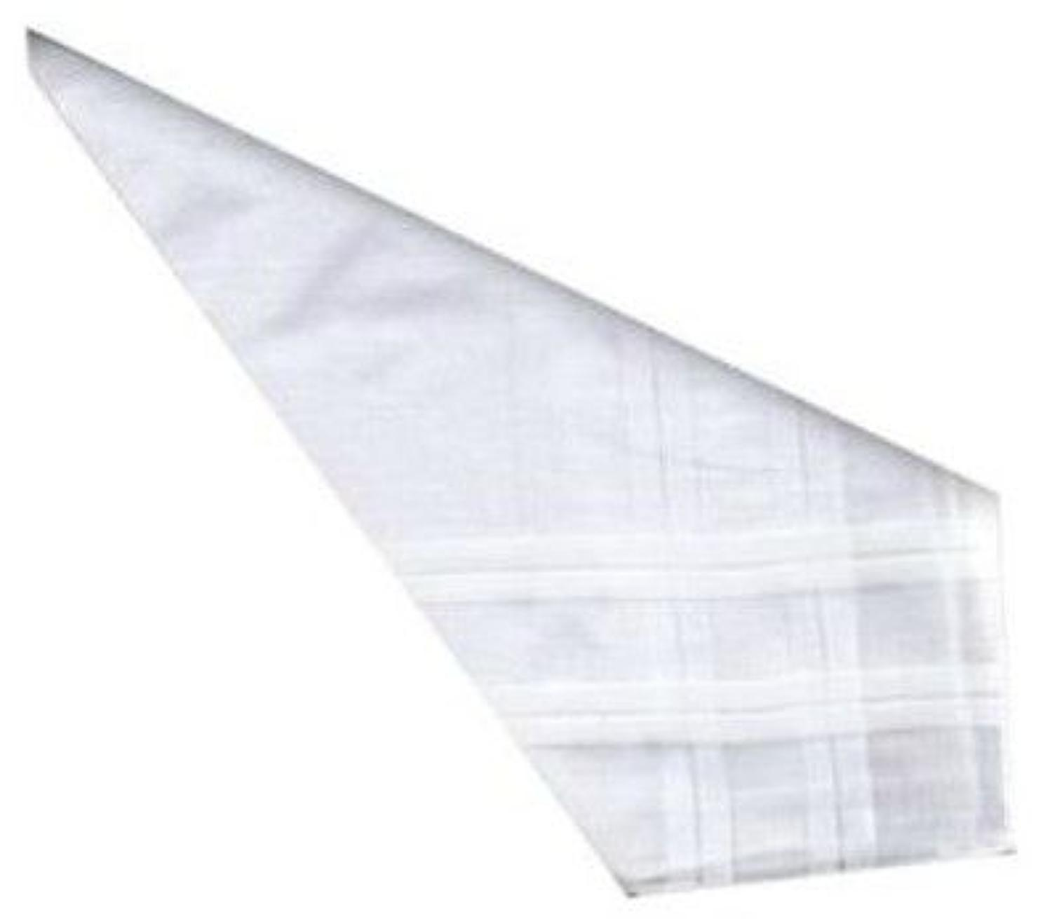 Mens White Satin Striped Cotton Handkerchiefs