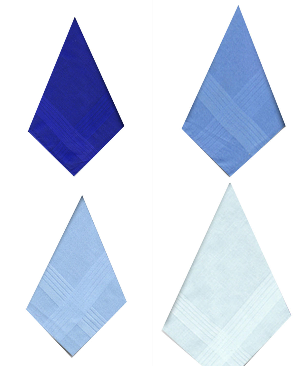 Mens Assorted Blue Dyed Satin Border Handkerchiefs