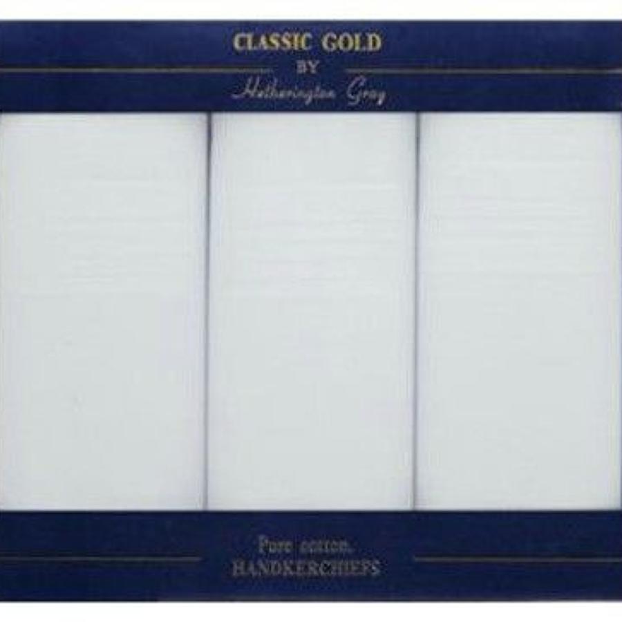 Mens 3 Pack White Satin Border Boxed Handkerchiefs