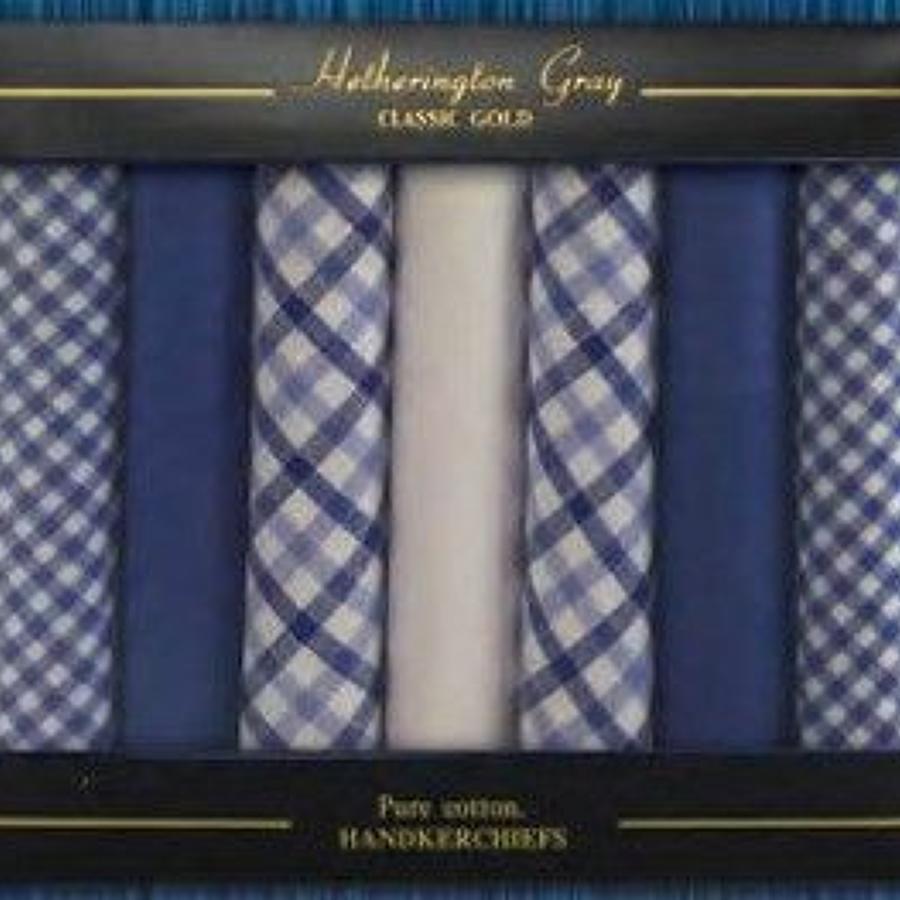 Mens 7 Pack Assorted Checks & Dyed Handkerchiefs
