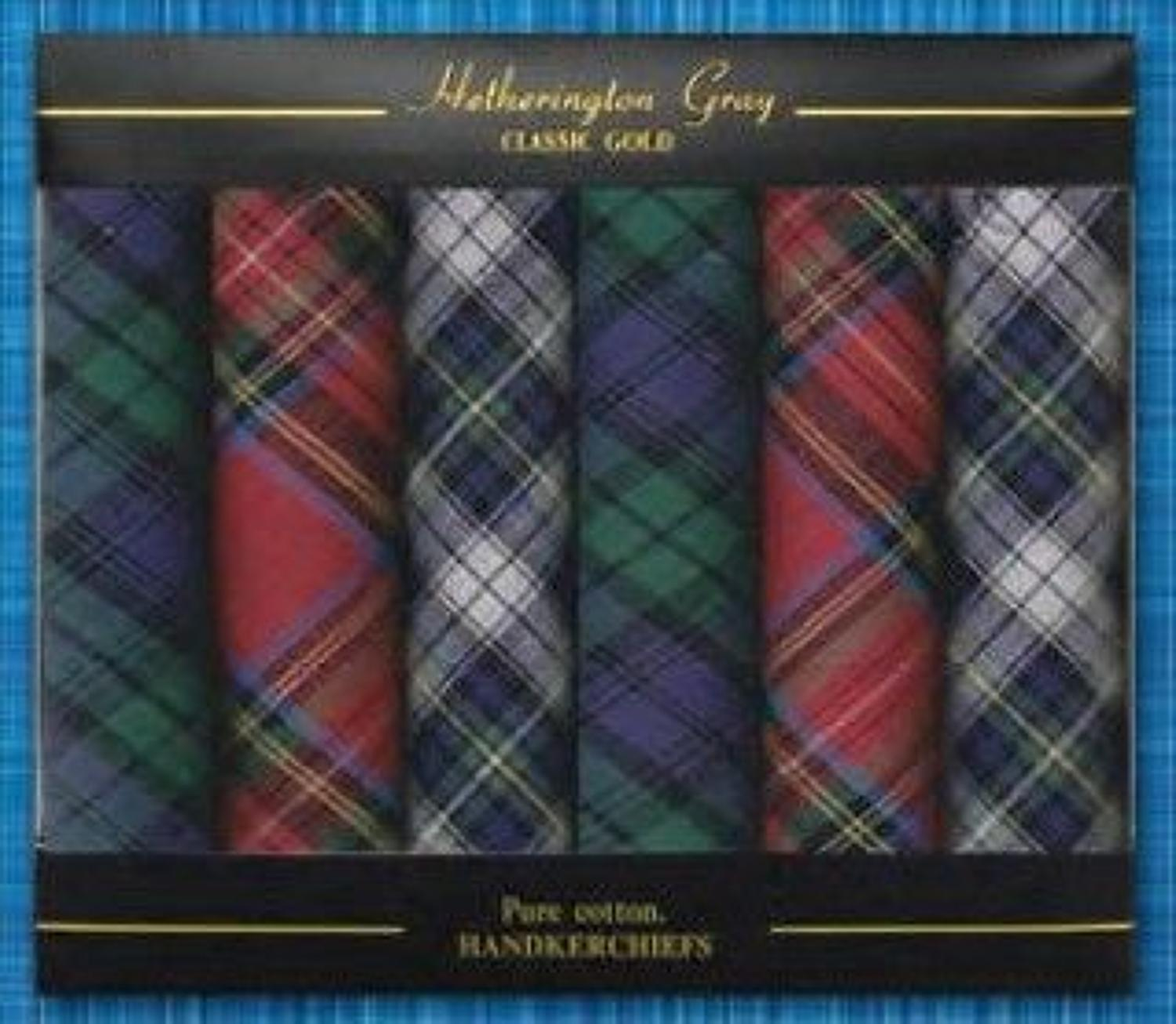 Mens 6 Pack Assorted Tartan Cotton Handkerchiefs