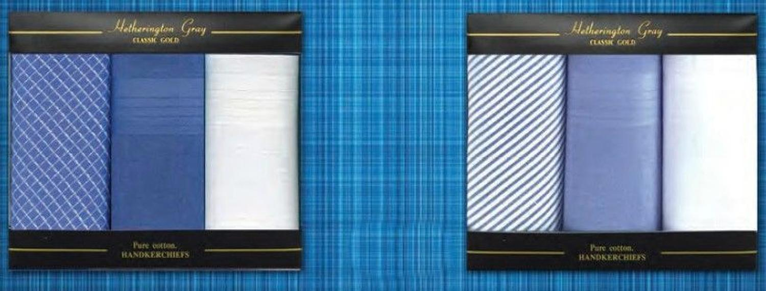 Mens 3 Pack Check and Dyed Handkerchiefs