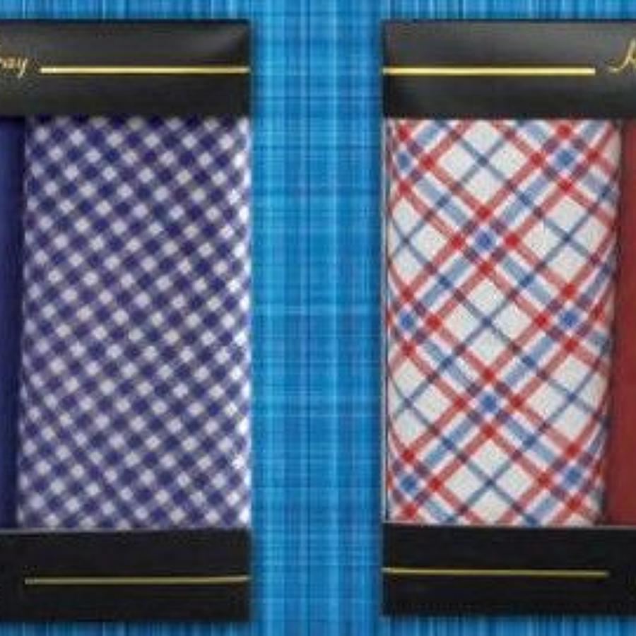 Mens 3 Pack Assorted Check & Spot Handkerchiefs
