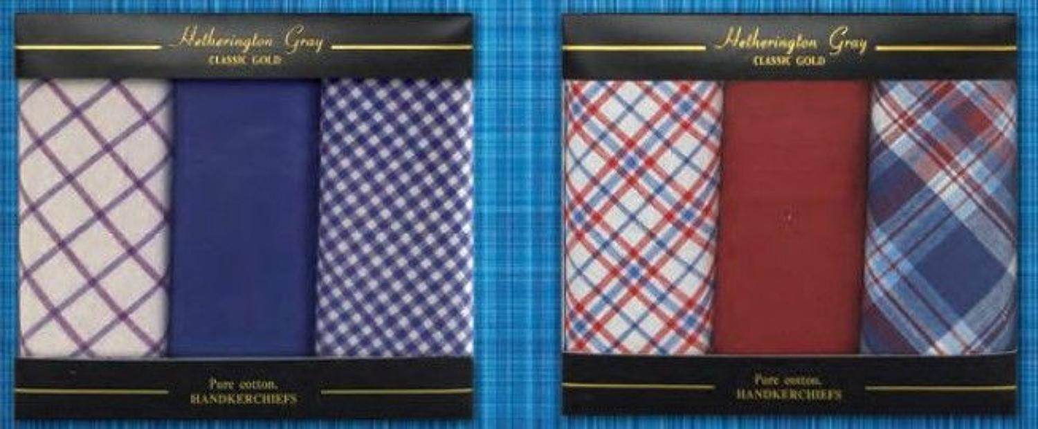 Mens 3 Pack Assorted Check & Spot Handkerchiefs