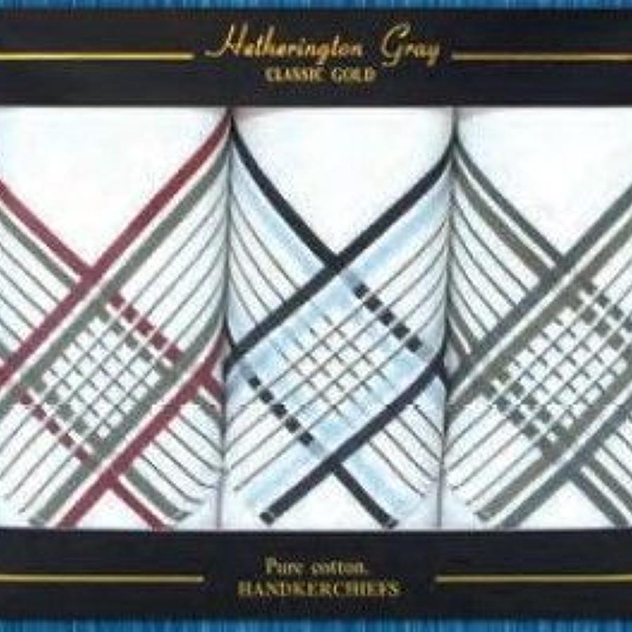 Mens 3 Pk Coloured Border Handkerchiefs